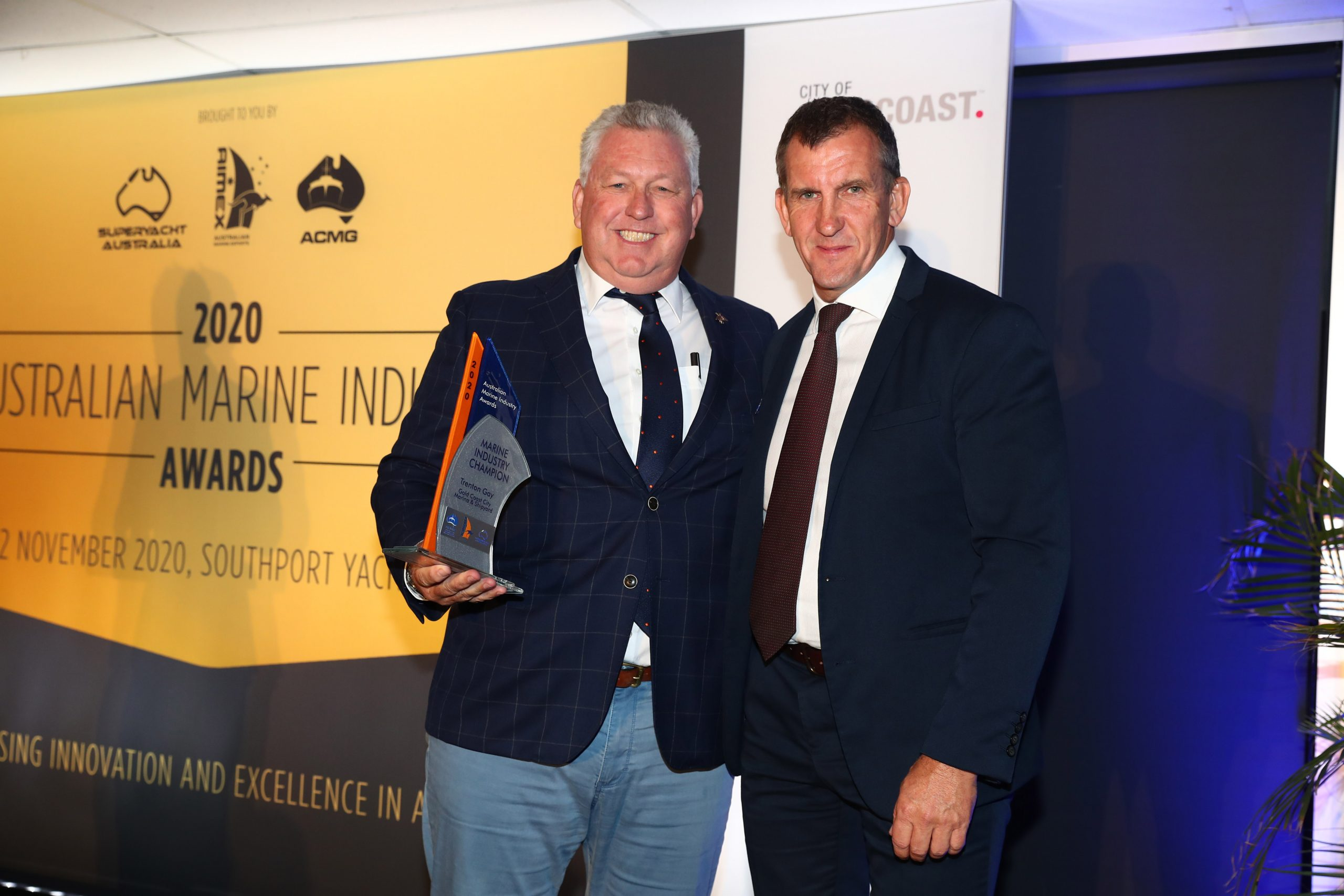 16. Marine Industry Champion Trent Gay – GCCM and Presenting Partner Stephen Joyce from the City of Gold Coast